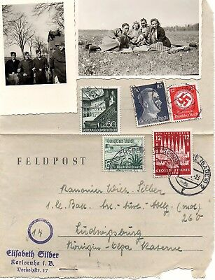 German Ww2 Feldpost,  2 Photos And 5 Stamps.