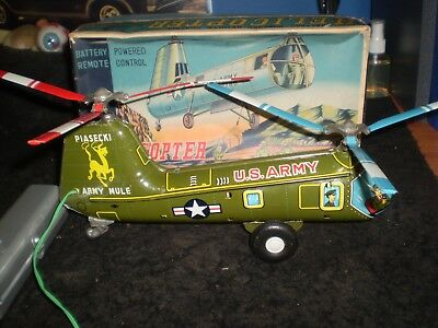 1950s PIASECKI ARMY MULE HELICOPTER BATTERY OPERATED TOY, MADE IN JAPAN, W/BOX
