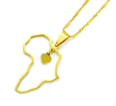 Africa Map with tiny Heart Pendant necklace African Jewellery 18k Gold Plated