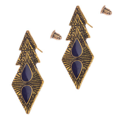 Fashion Women Vintage Bohemian Boho Purple Drip Rhombus Drop/Dangle Earrings