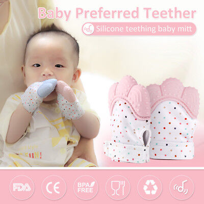 Baby Teething Mitten Teething Mitt Glove Silicone Sounding Open Candy Teether