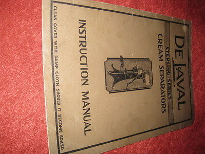 Early De Laval Cream Separators Instruction Manual 15 cent Fair Condition