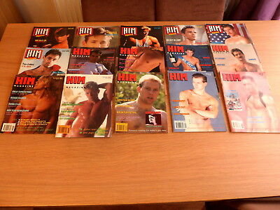 collection of 15 early issues of HIM Gay Interest magazines  -  issues 17 to 36