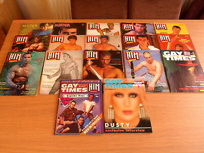 collection of 17 early issues of HIM & Gay Times  - Gay Interest magazines