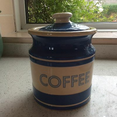 T.G Green Ltd Church Gresley Cornishware Coffee storage Jar, Lidded