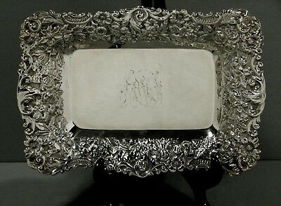 Jacobi & Jenkins Sterling Tray      HAND DECORATED    c1900           *  RARE  *