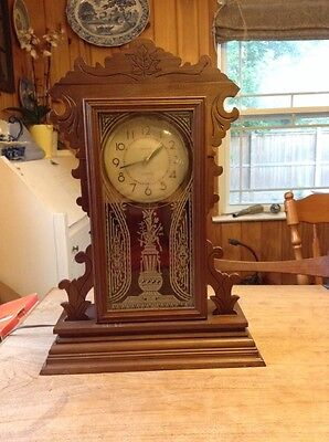 antique wooden gingerbread mantle clock, ingraham dinette, electrified, corded