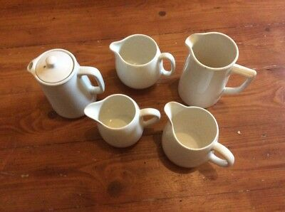 Job Lot Vintage Retro Different Size White Jugs X 5