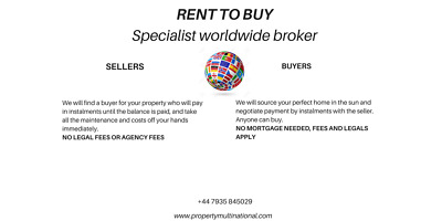 Seller Finance, Rent To Buy, Installment Plan, Own Abroad Now!!