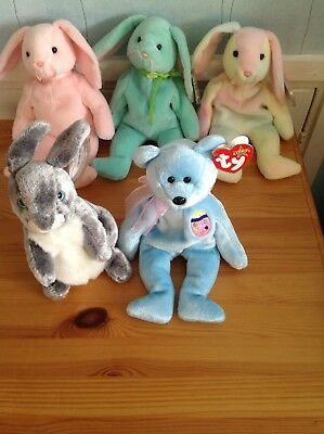 5 Rare Retired Ty Beanie Babies With Tags