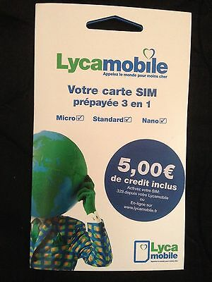 LYCAMOBILE CARTE SIM FRANCE Inclus 5.€ de crédits en Triple Format