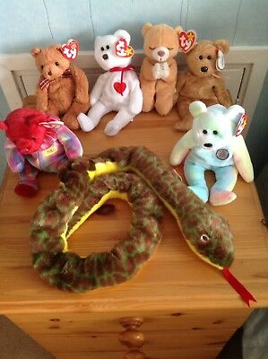 Snake Retired Ty Beanie Buddy And 6 Retired Ty Beanie Babies With Tags