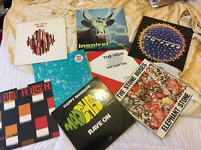 "happy mondays. stone roses. inspiral carpets. the high job lot 12"" vinyl eps"