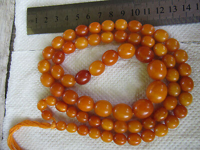 44g Antique Beautiful Natural Amber Beads Necklace