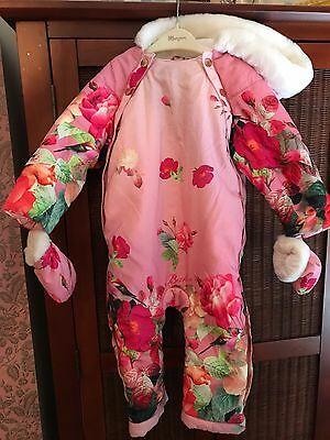 baby girl designer ted baker baby floral snow suit size 12-18 months