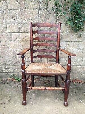 Antique Harlequin Set Of 8 Ladderback Dining Chairs