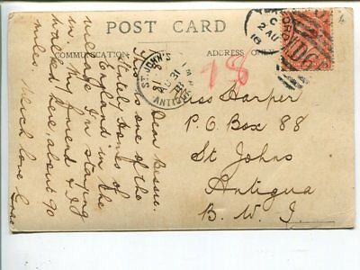Great Britain ppost card to Antigua 1918