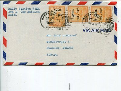 Haiti air mail cover to Sweden 1953