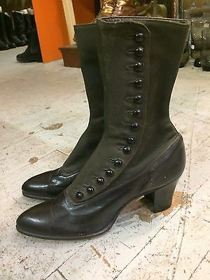 1900s antique victorian edwardian buttons granny witch womens shoes boots sz 3