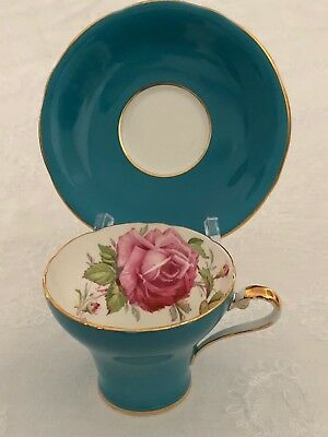 Aynsley Birks Aqua Corset Cup and Saucer Large Pink Cabbage Rose