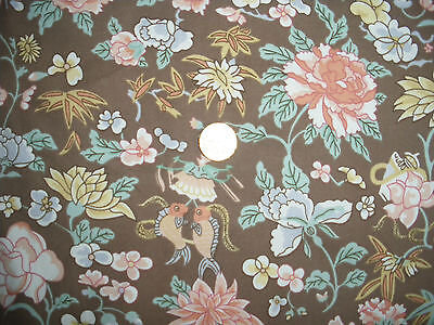 Vintage Liberty 'Lingfield' floral & fishes cotton furnishing fabric 108 cms