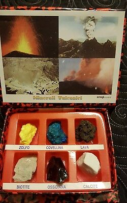 Souvenir volcanic minerals. Boxed Set of 6 pieces in a storage box.