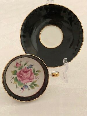 Aynsley Footed Black Gold Cup and Saucer Large Pink Rose