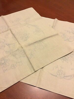 Antique Irish Linen Transferred For Embroidery