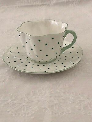 Shelley Dainty Green Polka Dot Cup and Saucer