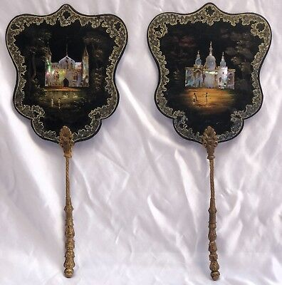 Magnificent Pair Of 19C English Hand Painted Papier Mache Mother Of Pearl Fans