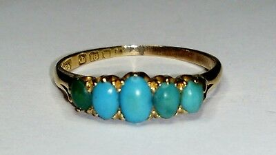 Uk Hallmarked 18Ct Yellow Gold Antique Victorian Turquoise Five Stone Ring,sz L