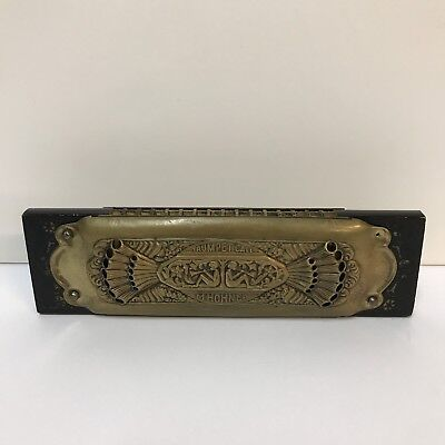 VTG 1931 M Hohner Trumpet Call Harmonica 32 Holes Double Sided Nymphs Germany