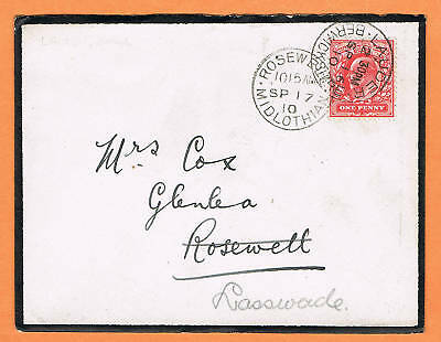 GB Scotland 1910 mourning cover Lauder to Rosewelt forwarded to Lasswade