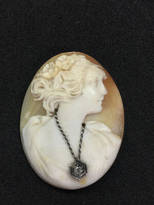 Vintage Unmounted Carved Shell Cameo w/ Diamond Necklace