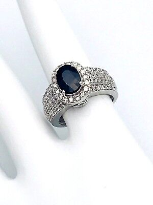 14k White Gold 3ct Genuine Diamond&Oval Shape Sapphire Ring Size 5.5