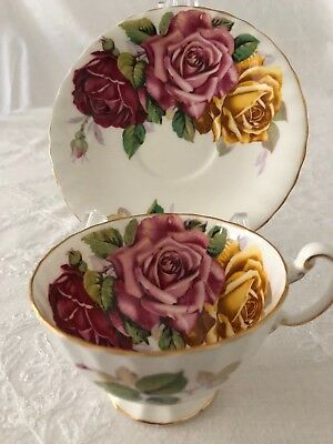 Stunning Aynsley Cup and Saucer 3 Large Cabbage Roses