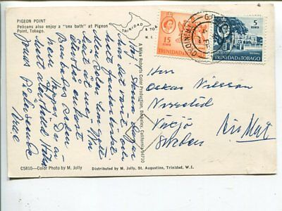 Trinidad & Tobago air mail post card to Sweden 1967