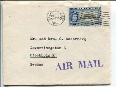 Bahamas air mail cover to Sweden 1958