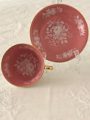 Aynsley Pink Gold Cup and Saucer with White Enamel Roses
