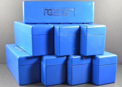 8 PCGS Boxes - Each holds 20 coins, PCGS Blue Storage Boxes - Used