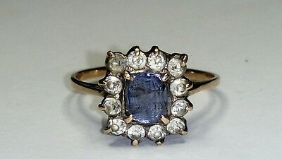 Art Deco 9Ct Rose Gold  Sapphire Cluster Ring,sz N