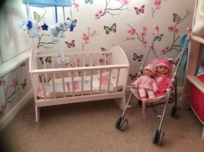 large wooden dolls crib with mobile, x2 dolls, bedding and pushchair