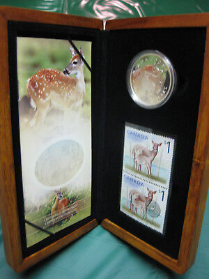 2005 Canada White-tailed Deer and Fawn $5 Silver Proof Coin & Stamp Set