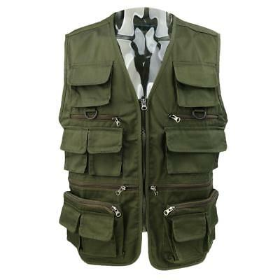 Men's Safari Casual Vest Multi Pockets Fishing Hunting Hiking Sport Tops 3XL