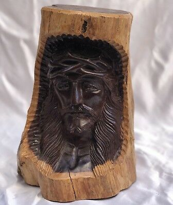 Magnificent French Wooden Hand Carved Christ Bust Must See