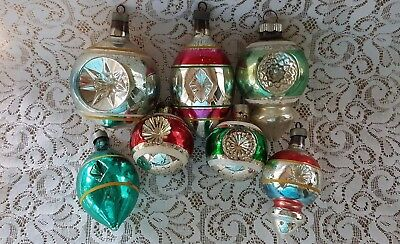 Lot Of 7 Vintage Striped Glass Indent Christmas Tree Ornaments