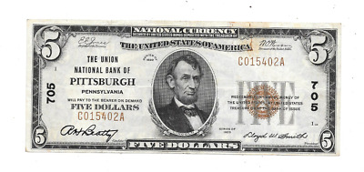 1929 $5 Union National Bank Of Pittsburgh Pennsylvania National Currency