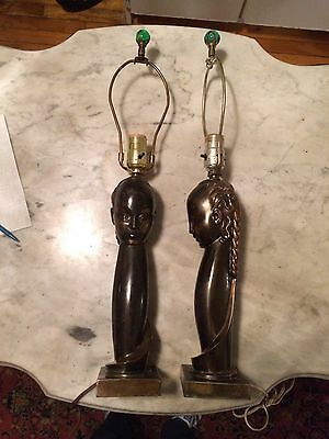 Vtg '50 pair of art deco cast metal egyptian figure african statue metal  lamps