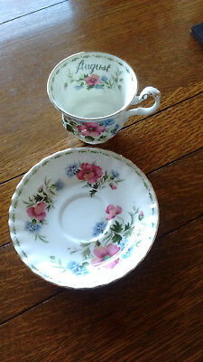 Royal Albert Flower of Month August Poppy Cup and Saucer set 1970