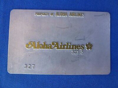 Vintage ALOHA AIRLINES Ticket Validation Plate Travel Agency Agent Metal